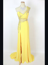 New Authentic Terani JP604 Yellow Beaded, Ruched-Bodice Bridal Prom Women Gown 0