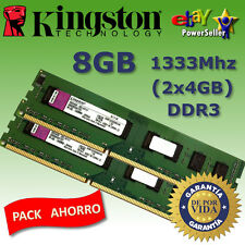 Memoria RAM DDR3 8GB (2x4GB) 1333Mhz - Kingston - REVISAR COMPATIBILIDAD DENTRO