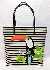 Kate Spade WKRU3197 Montigo Avenue Bon Shopper Stripes Tote Bag TOUCAN Print NWT