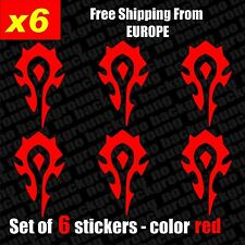 Set of 6 - Horde World Of Warcraft WOW Logo Vinyl Sticker Aufkleber Die-Cut Car