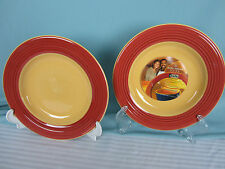 Kathy Ireland Home A Cafe 2 Salad Plates 8 in Andre Cathen  Red and Yellow New