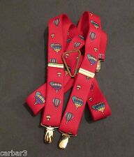 Men's CAS Hot Air Balloons Stretch & Clip Suspenders Brass Hardware West Germany