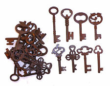 ASSORTED ANTIQUE 1800'S FANCY TOP IRON SKELETON KEYS LOT OF 25 LOT 2