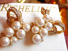 Vintage Old Jewelry store stock Richelieu Givenchy Fauz pearl pierced earrings