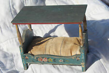 Early ANTIQUE MINIATURE DOLLHOUSE CANOPY BED Dora Kuhn GERMANY All Orig Paint!
