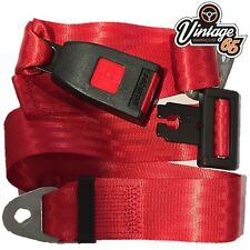 Vintage Warehouse 65 Classic Red Front Rear Static 2 point Seat Lap Safety Belt