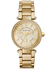 MICHAEL KORS MK6056 MINI PARKER GOLD TONE LADIES WATCH -- 2 YEARS WARRANTY