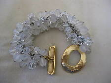 DANIEL SWAROVSKI - PARIS Clear & Frosted Bead Goldtone Bracelet -- Signed