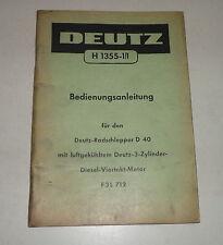 Teilekatalog / Ersatzteilliste Deutz Radschlepper D40 von 1957