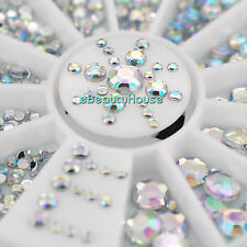 6 Sizes Nail Art Tips Crystal Glitter Rhinestone Decoration+Wheel #057G