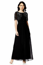 NEW Black Maxi Dress Gatsby Dress Embellished Bridesmaid Party Gown SIZE 20
