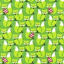 Michael Miller Sweater Weather Fabric in ever green- fox - christmas -By the FQ