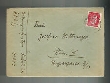 1944 Germany Dachau Concentration Camp Cover w letter Gustav Wittmayer to Vienna