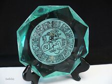 Green Crystal Ashtray Paperweight Geometric Art Glass Mayan Zodiac Motif Inlay