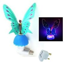 Novelty Fiber Optic Butterfly Child Night Light LED Color Changing Lamp - Blue