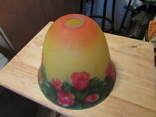 BELL SHAPE Reverse HAND PAINTED Frosted GLASS Lamp SHADE - Red ROSES & Grn VINES