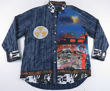 AUTHENTIC ROBERT GRAHAM GRAFFITI PRINT COLORBLOCK FLIP CUFF STRIPED SHIRT XL