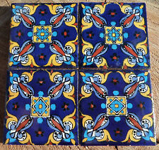 "36~Talavera Mexican 2"" tile pottery hand painted Fiesta Azul Blue Red design"