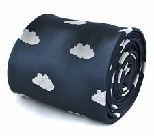 Frederick Thomas navy blue and white fluffy cloud handmade mens tie FT1974