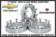 "4- 1"" Chevy GMC 8x6.5 Wheel Spacers Adapters 14x1.5 Studs Fits 2500 3500 Trucks"