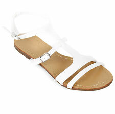 New Womens Strappy Gladiator Flat Flip Flop Sandals Shoes Black Tan White Blue