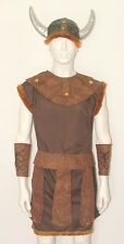 "ADULT VIKING WARRIOR COSTUME WITH HELMET fits up 48"" chest MEDIEVAL FANCY DRESS"
