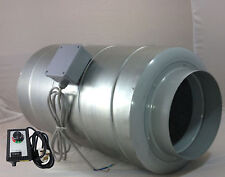"""200mm 8"""" Inline Duct Fan & Silencer Combined + Speed Controller Hydroponic venti"""