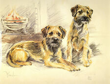 BORDER TERRIER DOG FINE ART LIMITED EDITION PRINT - Brace by the Fire