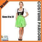 Womens Authentic Green German Dirndl Oktoberfest Dress Ladies Costume Sizes 6-22