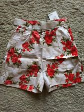 Tara Starlet Size 10 Women's Vintage 50s High Waisted Floral Rose/Cream Shorts