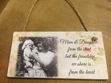 Mum & Daughter wood plaque gift for Mum personalised with photo & quote