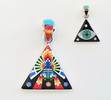 KACHINA MICRO MULTICOLOR TURQUOISE SPINY INLAY .925 STERLING DEVIL'S EYE PENDANT