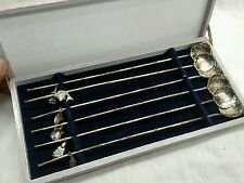Nice vintage 6 Japanese   sterling 925 ice teaspoons with charms with box
