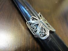 925 Sterling Signed Unique Wide Big Detailed Filigree Butterfly Ring Sz 5 3/4=5g