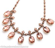 ROSE BLUSH PINK CRYSTAL RHINESTONE & Gold Choker Pendant Bib Statement Necklace