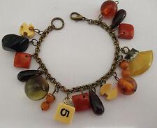 Vintage Bakelite Bangle Charm Link Bracelet Dice, Nugget, Teardrops Many Colors