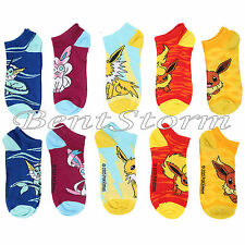 Pokemon EEVEE Evolution Design Mix & Match No-Show Low Cut Socks 5 Pair Pack NEW