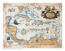 """19.5 x 25"""" Caribbean Vintage Look Map Printed on Parchment Paper-GOLD"""