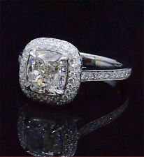 1.74 Ct Cushion Cut Natural Diamond Halo Micro Pave Engagement Ring F, VVS1 GIA