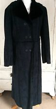 Black Faux Shearling Sheepskin Warm Long Coat Plush Lining Goth  Size M 12-14