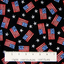 Patriotic Fabric - American Flag & Star Toss - Cotton YARD