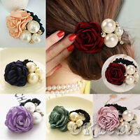 Women Lady Satin Ribbon Rose Flower Pearls Hairband Ponytail Holder Hair Band