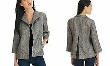 Eileen Fisher Pewter Graphite Refracted Silk Jacquard Hologram Jacket XS