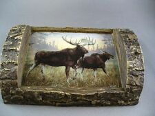 BULL & COW MOOSE NORTHWOODS SOAP DISH RUSTIC HANDPAINTED RESIN HAUTMAN ARTWORK
