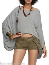 NEW Beyonce House of Dereon Grey Zip Slouch Loose Cropped Poncho Size XS UK 8-10