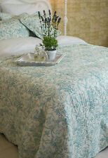 SUPER KING EXQUISITE DUCK EGG BLUE TOILE DE JOUY QUILT 100% COTTON FRENCH STYLE