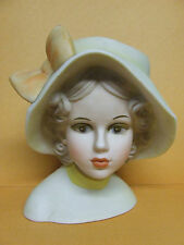 Vintage Inarco Teen Girl w/Large Hat & Bow Lady Head Vase (#E6212, Japan)