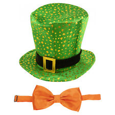 St Patrick's Day Novelty Fancy Dress Leprechaun Shamrock Pattern Hat & Bow Tie