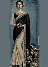 DESIGNER LATEST HALF AND HALF GEORGETTE NET SAREE