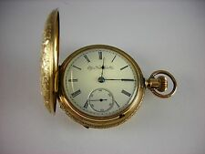 Antique all original Elgin 18s pocket watch in richly decorated Hunter case 1890